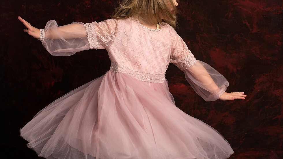 Pink cocktail dress with tulle
