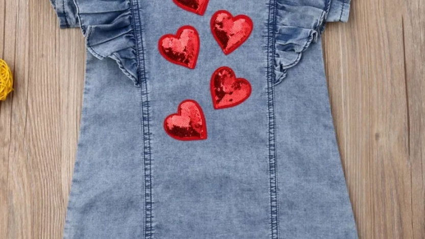 Denim dress with red hearts from cekins