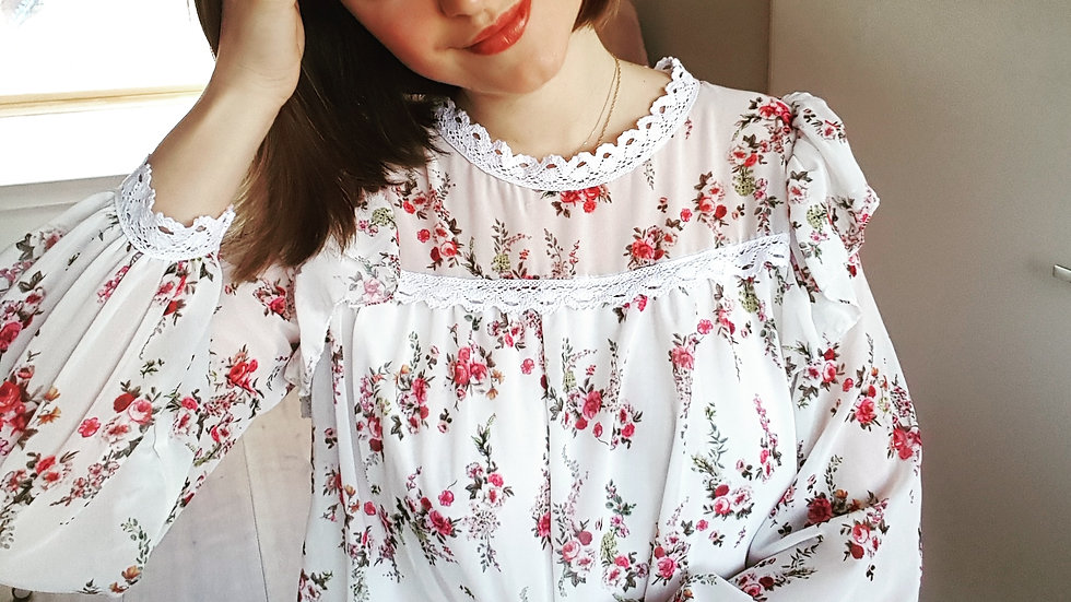 White flowery loose hippie blouse