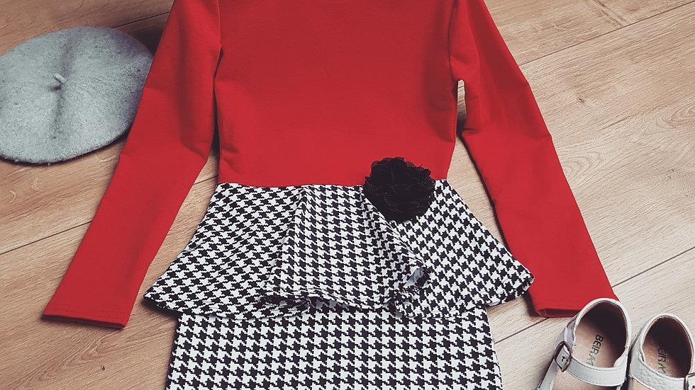 Red & black puplum dress for girls