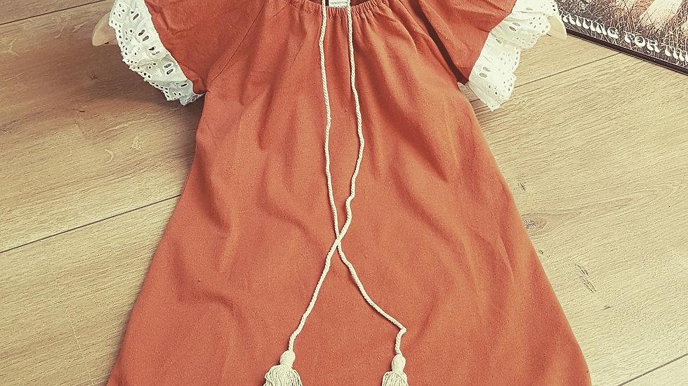 Brown cotton hippie boho dress