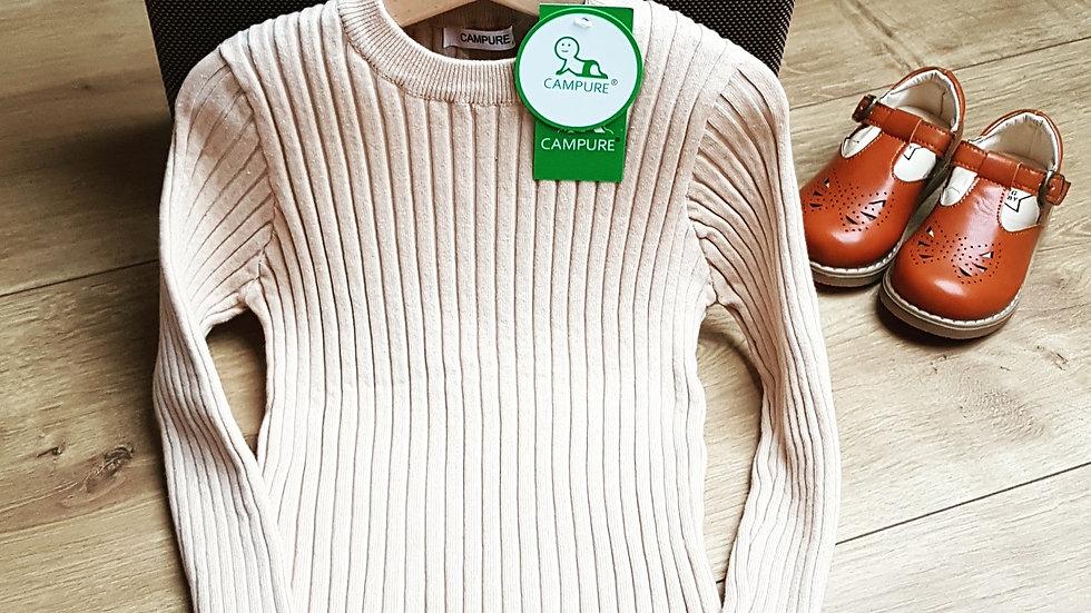 Soft cotton sweater in light beige UNISEX