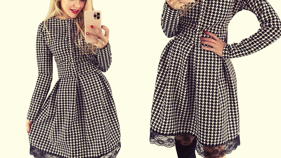 Retro dogtooth dress