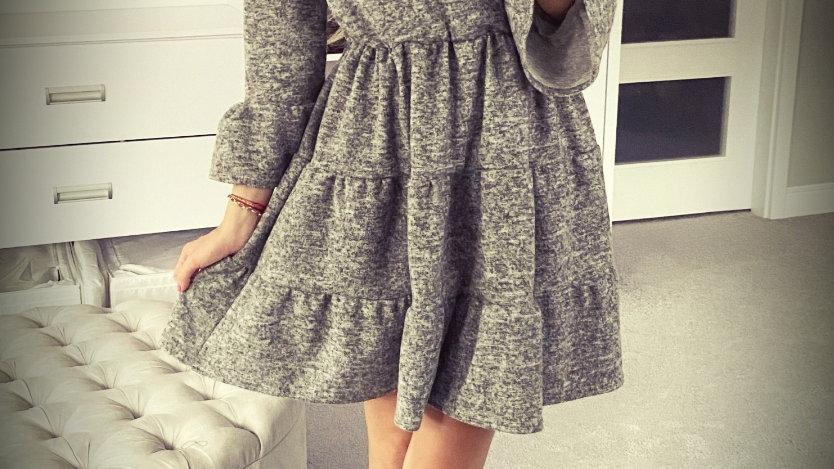 Grey melange cotton women's dress