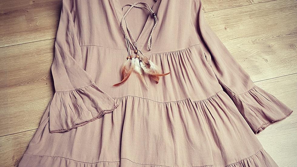 Brown cotton hippie dress