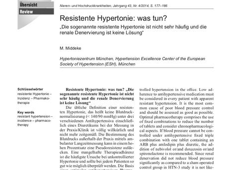 Resistente Hypertonie - was nun?