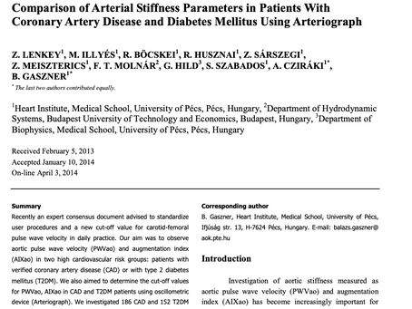 Comparison of arterial stiffness parameters in patients with coronary artery disease