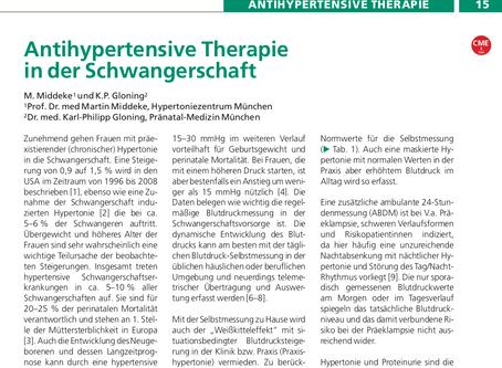 Antihypertensive Therapie in der Schwangerschaft
