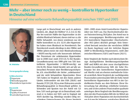 Mehr - aber immer noch zu wenig - kontrollierte Hypertoniker in Deutschland