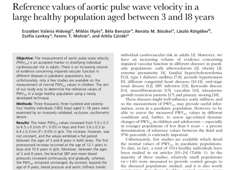 Reference values of aortic pulse wave velocity in a large healthy population