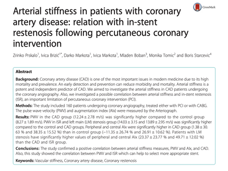 Arterial stiffness in patients with coronary artery disease