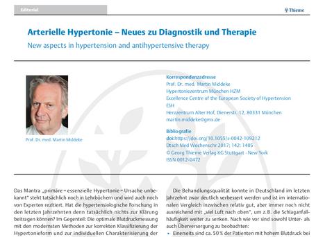 Arterielle Hypertonie - Neues zu Diagnostik und Therapie