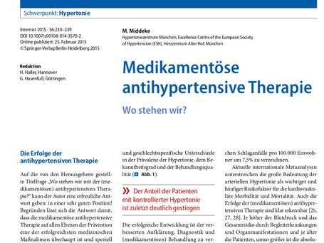 Medikamentöse antihypertensive Therapie
