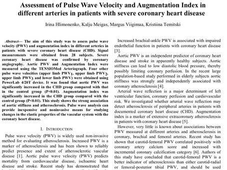 Assessment of Pulse Wave Velocity and Augmentation Index