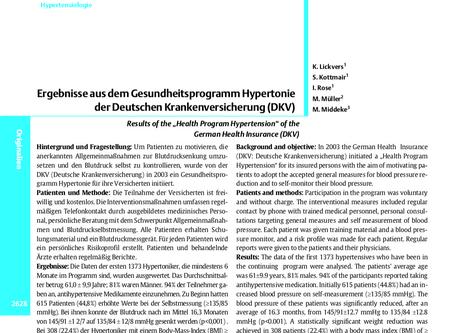 Ergebnisse aus dem Gesundheitsprogramm Hypertonie der DKV