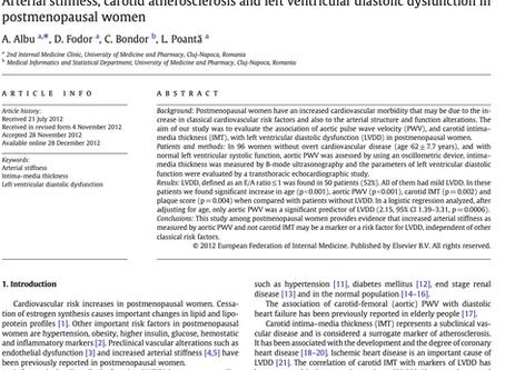 Arterial stiffness, carotid atherosclerosis and left ventricular diastolic dysfunction