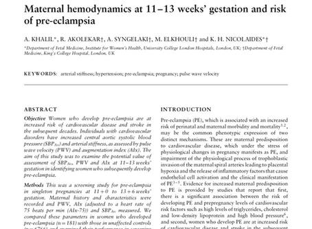 Maternal hemodynamics at 11-13 weeks' gestation and risk of pre-eclampsia.
