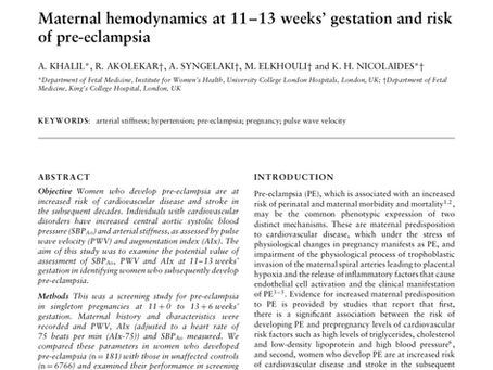 Maternal hemodynamics at 11-13 weeks' gestation and risk of pre-eclampsia.
