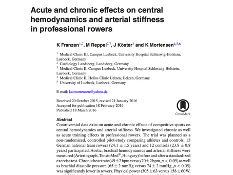 Acute and chronic effects on central hemodynamics and arterial stiffness in professional rowers.