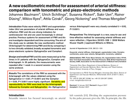 A new oscillometric method for assessment of arterial stiffness: comparison with tonometric