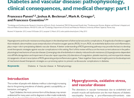 Diabetes and vascular disease: pathophysiology, clinical consequences, and medical therapy: part I.