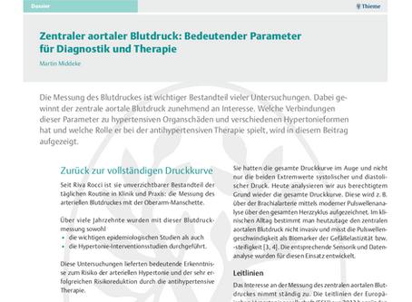Zentraler aortaler Blutdruck: Bedeutender Parameter für Diagnostik und Therapie
