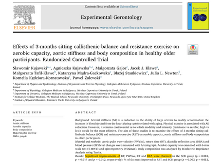 Effects of 3-months sitting callisthenic balance and resistance exercise on aerobic capacity