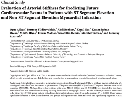 Evaluation of Arterial Stiffness for Predicting Future Cardiovascular Events in Patients