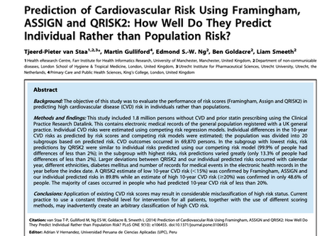 Prediction of cardiovascular risk using Framingham, ASSIGN and QRISK2