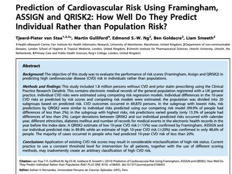 Prediction of cardiovascular risk using Framingham, ASSIGN and QRISK2