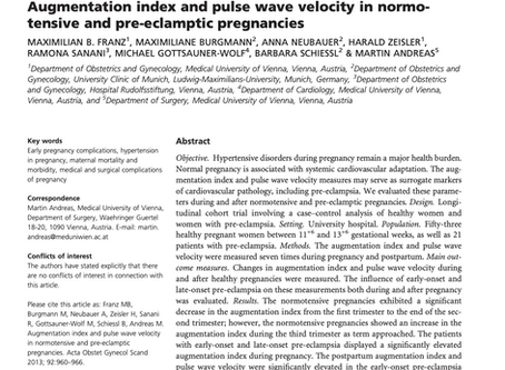 Augmentation index and pulse wave velocity in normotensive and pre-eclamptic pregnancies