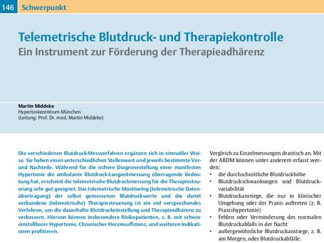 Telemetrische Blutdruck- und Therapiekontrolle