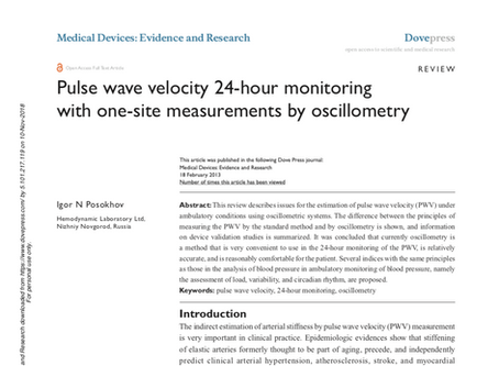 Pulse wave velocity 24-hour monitoring with one-site measurements by oscillometry