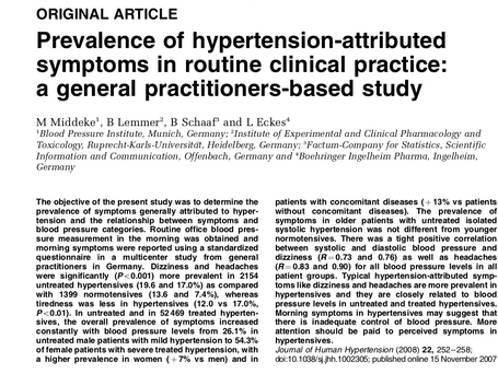 Prevalence of hypertension-attributed symptoms in routine clinical practice