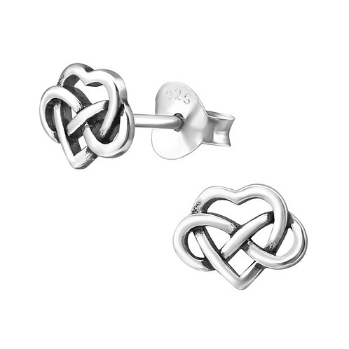 Heart & Knot Sterling Silver Studs