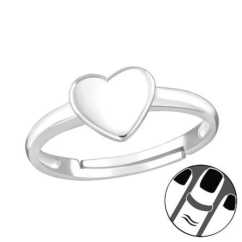 Plain Heart Sterling Silver Midi or Children's Ring