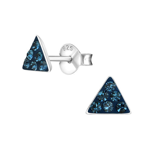 Montana Crystal Triangle Sterling Silver Studs