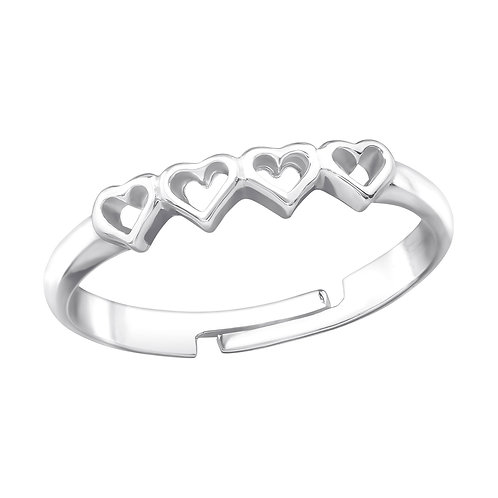 Heart Link Sterling Silver Ring