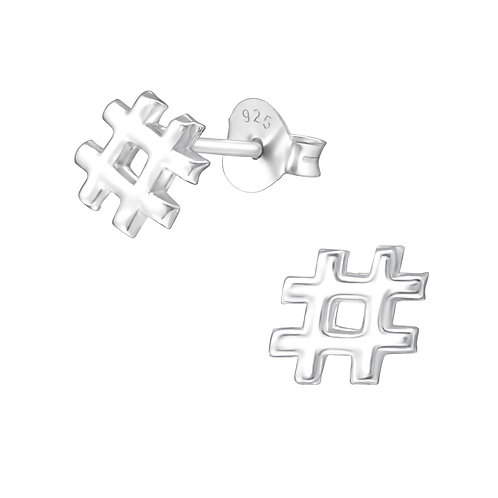 Hashtag Sterling Silver Studs