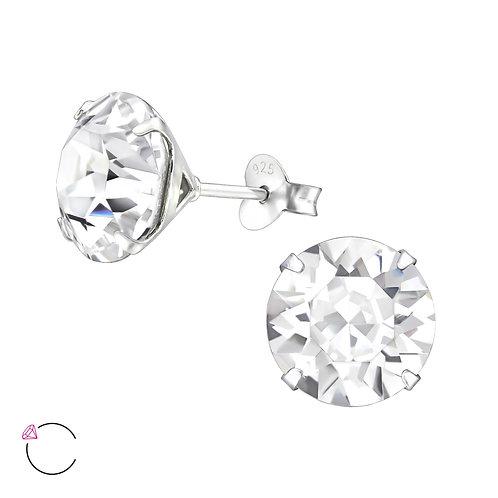 Round Swarovski® Crystal & Sterling Silver Studs