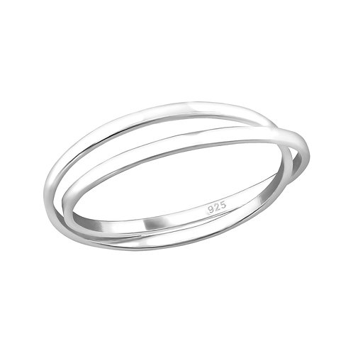 Crossed Sterling Silver Ring