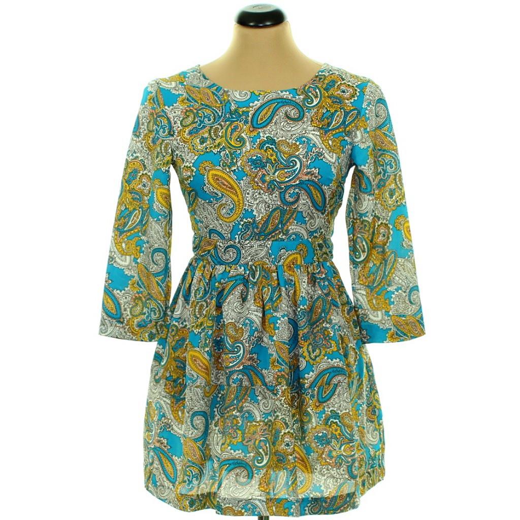 Sárga-kék mintás ruha