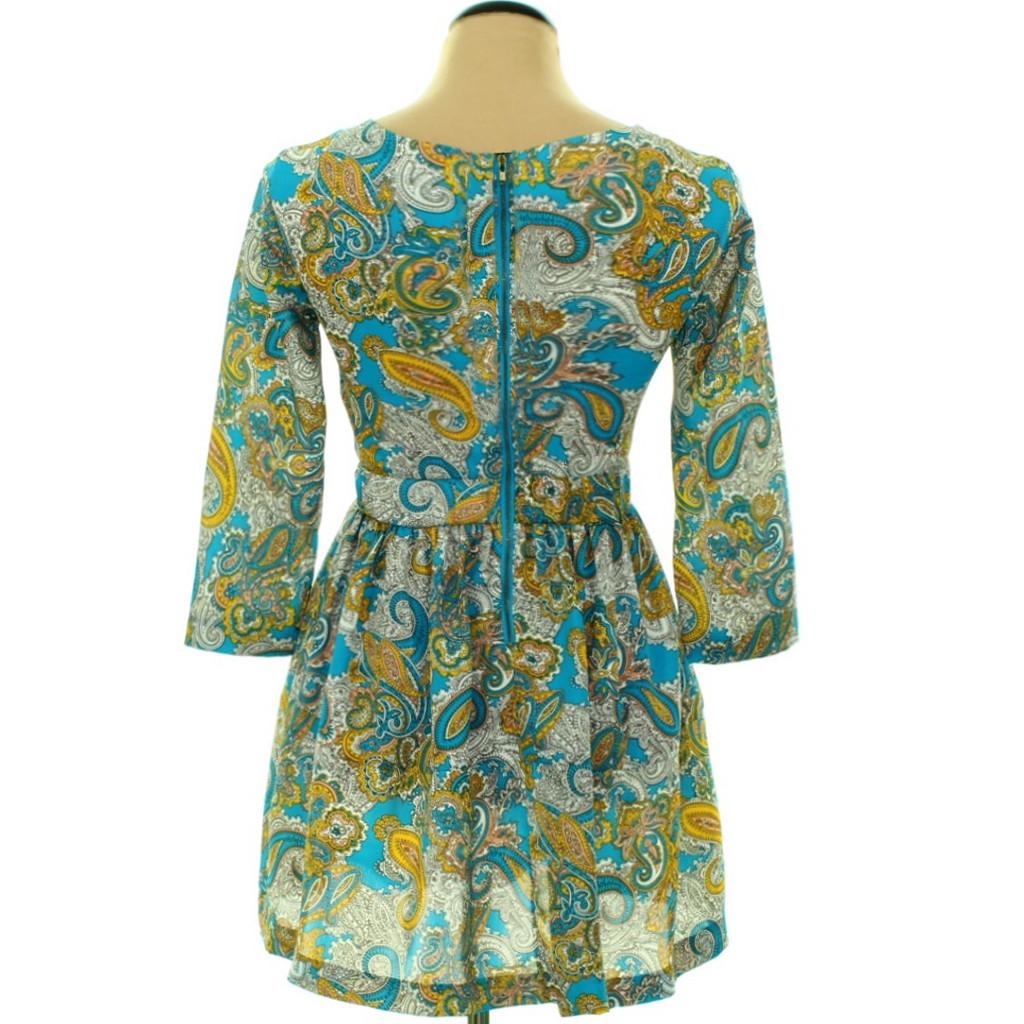 Sárga-kék mintás ruha háta