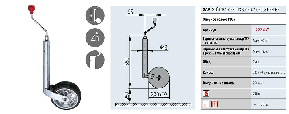 Оопорное колесо серії PLUS з діаметром труби 48 мм (артикул 1222437)