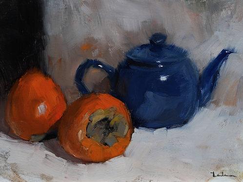 """Persimmons & Tea Pot - 9"""" x 12"""""""