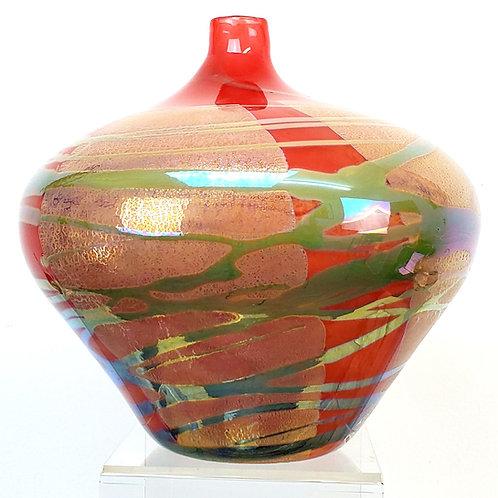 Red Squat Amphora Vase