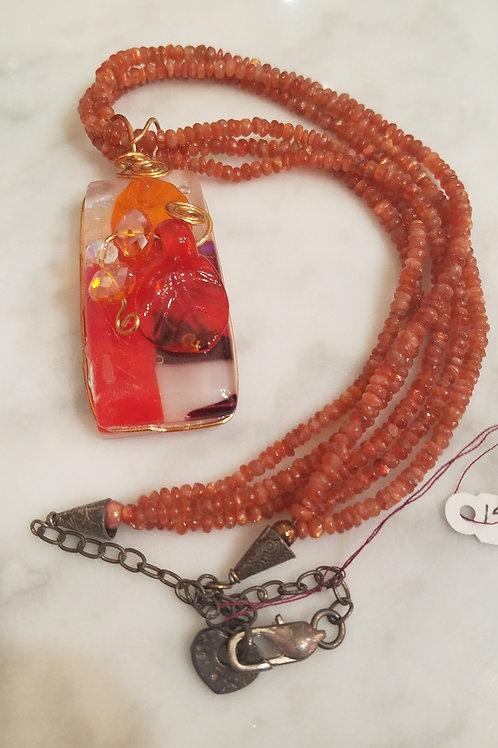 3 Strand Carnelian and Glass Pendant
