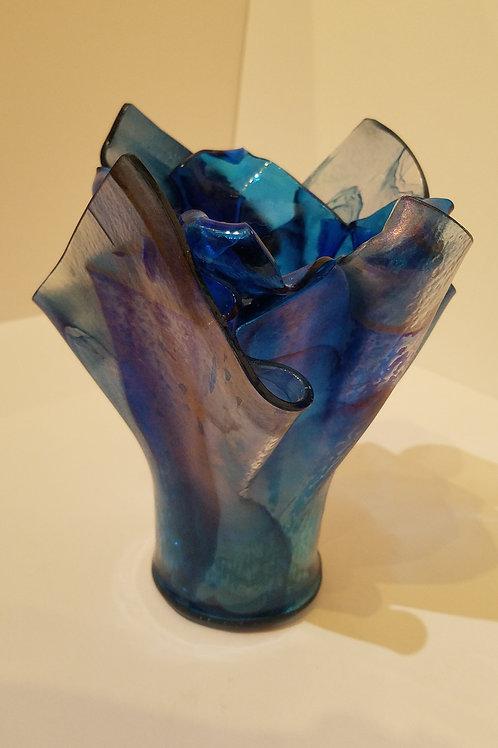 Cobalt Blue Handkerchief Vase by Nancy Bosse
