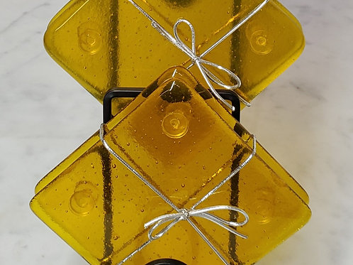Fused Glass Amber Coasters