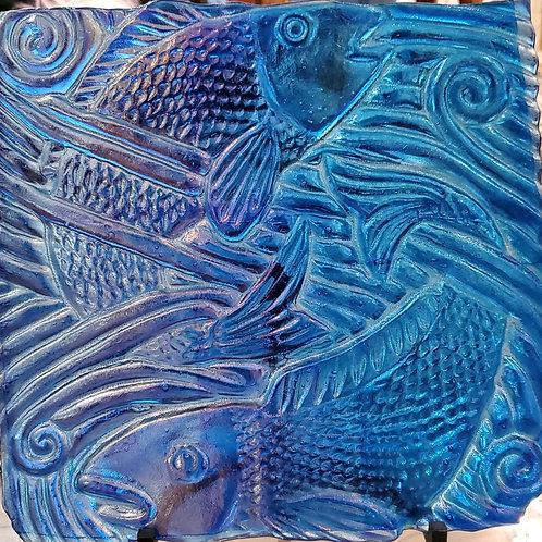 Fish Story- Blue Iridized Glass